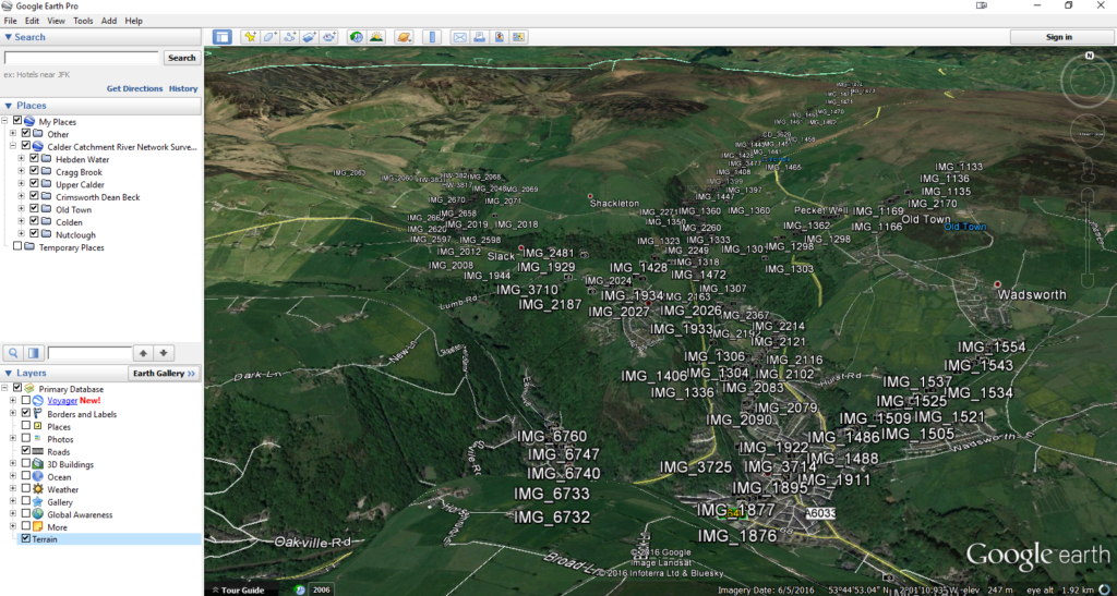 The Google Earth file is arranged in layers, so you see an overview, or zoom in to find a tributary
