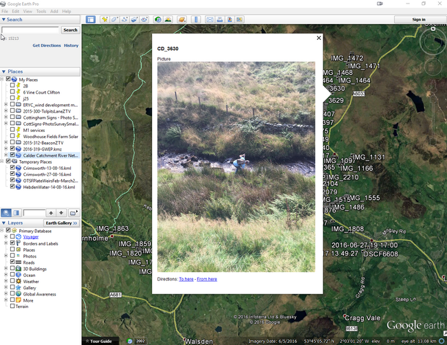 In Google Earth you can click on the names to view individual photos (This photo Crimsworth Dean)