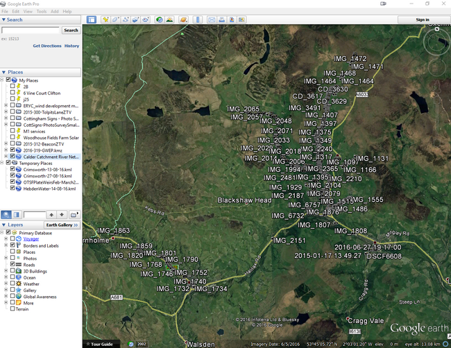 All photos are geo-located, so you can take a tour of the catchment from the comport of your armchair
